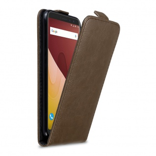 Cadorabo Hülle für WIKO VIEW PRIME in KAFFEE BRAUN Handyhülle im Flip Design mit Magnetverschluss Case Cover Schutzhülle Etui Tasche Book Klapp Style