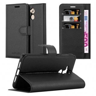 Cadorabo Hülle für Honor 6C in PHANTOM SCHWARZ - Handyhülle mit Magnetverschluss, Standfunktion und Kartenfach - Case Cover Schutzhülle Etui Tasche Book Klapp Style
