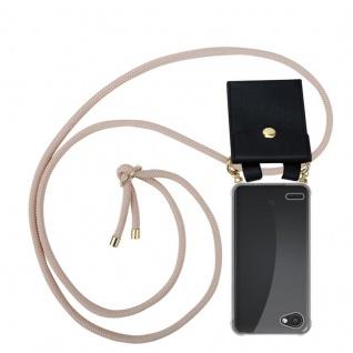 Cadorabo Handy Kette für LG Q6 in PERLIG ROSÉGOLD - Silikon Necklace Umhänge Hülle mit Gold Ringen, Kordel Band Schnur und abnehmbarem Etui ? Schutzhülle