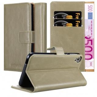 Cadorabo Hülle für HTC Desire 820 in CAPPUCCINO BRAUN ? Handyhülle mit Magnetverschluss, Standfunktion und Kartenfach ? Case Cover Schutzhülle Etui Tasche Book Klapp Style