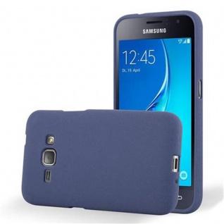 Cadorabo Hülle für Samsung Galaxy J1 2016 in FROST DUNKEL BLAU Handyhülle aus flexiblem TPU Silikon Silikonhülle Schutzhülle Ultra Slim Soft Back Cover Case Bumper