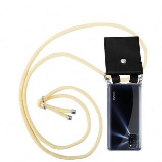 Cadorabo Handy Kette für Oppo A72 in CREME BEIGE Silikon Necklace Umhänge Hülle mit Silber Ringen, Kordel Band Schnur und abnehmbarem Etui Schutzhülle