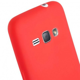 Cadorabo Hülle für Samsung Galaxy J1 2016 in CANDY ROT - Handyhülle aus flexiblem TPU Silikon - Silikonhülle Schutzhülle Ultra Slim Soft Back Cover Case Bumper - Vorschau 5