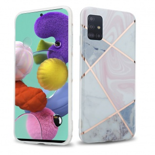 Cadorabo Hülle für Samsung Galaxy A51 5G Hülle in Pink grau weiß Marmor No.10 Handyhülle aus TPU Silikon mit Muster Mosaik Silikonhülle Schutzhülle Ultra Slim Back Cover Case Bumper