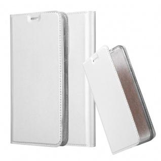 Cadorabo Hülle für WIKO VIEW XL in CLASSY SILBER Handyhülle mit Magnetverschluss, Standfunktion und Kartenfach Case Cover Schutzhülle Etui Tasche Book Klapp Style