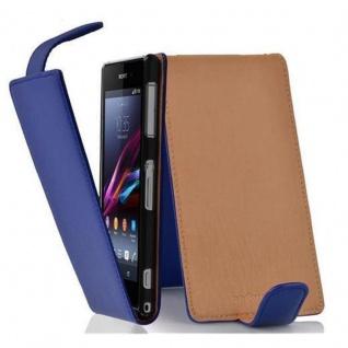 Cadorabo Hülle für Sony Xperia Z1 COMPACT in KÖNIGS BLAU - Handyhülle im Flip Design aus strukturiertem Kunstleder - Case Cover Schutzhülle Etui Tasche Book Klapp Style