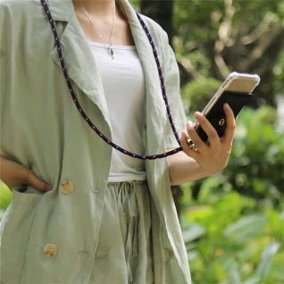Cadorabo Handy Kette für Apple iPhone 6 PLUS / iPhone 6S PLUS in BLAU ROT WEISS GEPUNKTET - Silikon Necklace Umhänge Hülle mit Gold Ringen, Kordel Band Schnur und abnehmbarem Etui ? Schutzhülle - Vorschau 3