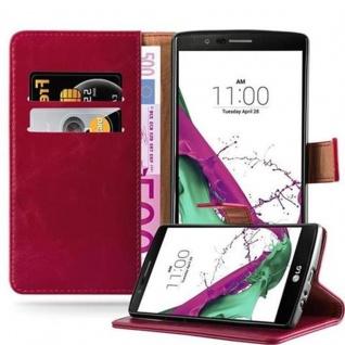 Cadorabo Hülle für LG G4 / G4 PLUS in WEIN ROT - Handyhülle mit Magnetverschluss, Standfunktion und Kartenfach - Case Cover Schutzhülle Etui Tasche Book Klapp Style