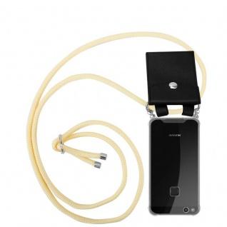 Cadorabo Handy Kette für Huawei P10 in CREME BEIGE - Silikon Necklace Umhänge Hülle mit Silber Ringen, Kordel Band Schnur und abnehmbarem Etui - Schutzhülle