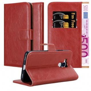 Cadorabo Hülle für Honor 5C in WEIN ROT Handyhülle mit Magnetverschluss, Standfunktion und Kartenfach Case Cover Schutzhülle Etui Tasche Book Klapp Style