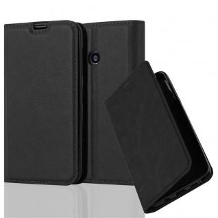 Cadorabo Hülle für Nokia Lumia 530 in NACHT SCHWARZ - Handyhülle mit Magnetverschluss, Standfunktion und Kartenfach - Case Cover Schutzhülle Etui Tasche Book Klapp Style