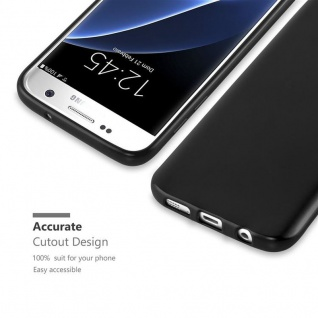 Cadorabo Hülle für Samsung Galaxy S7 in METALLIC SCHWARZ - Handyhülle aus flexiblem TPU Silikon - Silikonhülle Schutzhülle Ultra Slim Soft Back Cover Case Bumper - Vorschau 2