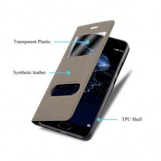 Cadorabo Hülle für Huawei P10 PLUS in STEIN BRAUN - Handyhülle mit Magnetverschluss, Standfunktion und 2 Sichtfenstern - Case Cover Schutzhülle Etui Tasche Book Klapp Style - Vorschau 3