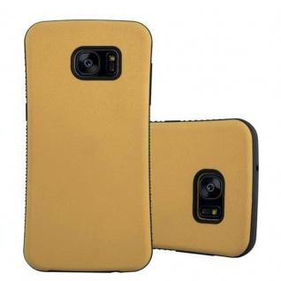 Cadorabo Hülle für Samsung Galaxy S7 EDGE - Hülle in GOLD BRAUN - Small Waist Handyhülle mit rutschfestem Gummi-Rücken - Hard Case TPU Silikon Schutzhülle
