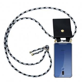 Cadorabo Handy Kette für Huawei MATE 10 LITE in SCHWARZ CAMOUFLAGE - Silikon Necklace Umhänge Hülle mit Gold Ringen, Kordel Band Schnur und abnehmbarem Etui ? Schutzhülle