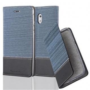 Cadorabo Hülle für Nokia 3 2017 in DUNKEL BLAU SCHWARZ - Handyhülle mit Magnetverschluss, Standfunktion und Kartenfach - Case Cover Schutzhülle Etui Tasche Book Klapp Style