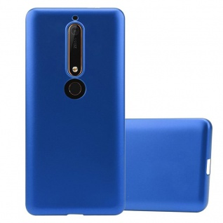 Cadorabo Hülle für Nokia 6.1 2018 in METALLIC BLAU - Handyhülle aus flexiblem TPU Silikon - Silikonhülle Schutzhülle Ultra Slim Soft Back Cover Case Bumper