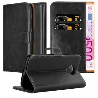 Cadorabo Hülle für Motorola MOTO G5S PLUS in GRAPHIT SCHWARZ ? Handyhülle mit Magnetverschluss, Standfunktion und Kartenfach ? Case Cover Schutzhülle Etui Tasche Book Klapp Style