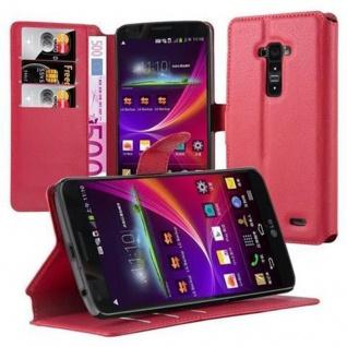 Cadorabo Hülle für LG G FLEX (1.Gen.) in KARMIN ROT - Handyhülle mit Magnetverschluss und 3 Kartenfächern - Case Cover Schutzhülle Etui Tasche Book Klapp Style