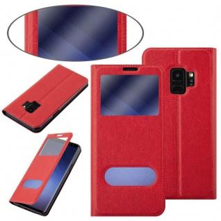 Cadorabo Hülle für Samsung Galaxy S9 in SAFRAN ROT - Handyhülle mit Magnetverschluss, Standfunktion und 2 Sichtfenstern - Case Cover Schutzhülle Etui Tasche Book Klapp Style - Vorschau 3