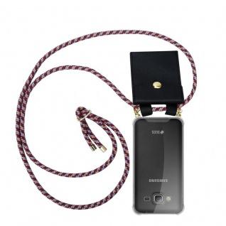 Cadorabo Handy Kette für Samsung Galaxy J3 / J3 DUOS 2016 in ROT GELB WEISS - Silikon Necklace Umhänge Hülle mit Gold Ringen, Kordel Band Schnur und abnehmbarem Etui ? Schutzhülle - Vorschau 1