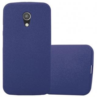 Cadorabo Hülle für Motorola MOTO G2 in FROST DUNKEL BLAU - Handyhülle aus flexiblem TPU Silikon - Silikonhülle Schutzhülle Ultra Slim Soft Back Cover Case Bumper