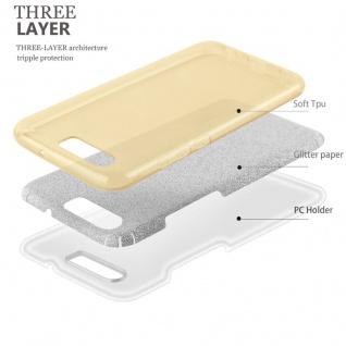 Cadorabo Hülle für Huawei P10 - Hülle in STERNENSTAUB GOLD ? TPU Silikon und Hardcase Handyhülle im Glitzer Design - Hard Case TPU Silikon Schutzhülle