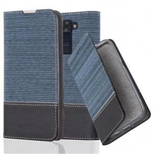 Cadorabo Hülle für LG K8 2016 in DUNKEL BLAU SCHWARZ - Handyhülle mit Magnetverschluss, Standfunktion und Kartenfach - Case Cover Schutzhülle Etui Tasche Book Klapp Style - Vorschau 1