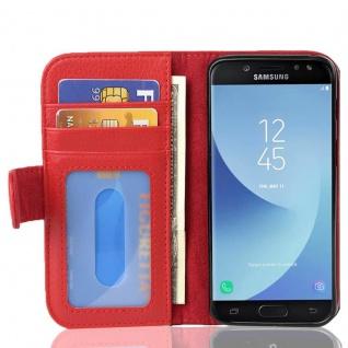 Cadorabo Hülle für Samsung Galaxy J5 2017 in INFERNO ROT - Handyhülle mit Magnetverschluss und 3 Kartenfächern - Case Cover Schutzhülle Etui Tasche Book Klapp Style
