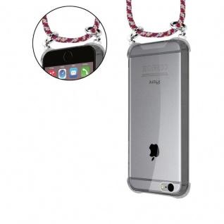 Cadorabo Handy Kette für Apple iPhone 6 PLUS / iPhone 6S PLUS in ROT GELB WEISS - Silikon Necklace Umhänge Hülle mit Silber Ringen, Kordel Band Schnur und abnehmbarem Etui - Schutzhülle - Vorschau 5