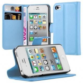 Cadorabo Hülle für Apple iPhone 4 / iPhone 4S in PASTEL BLAU - Handyhülle mit Magnetverschluss, Standfunktion und Kartenfach - Case Cover Schutzhülle Etui Tasche Book Klapp Style