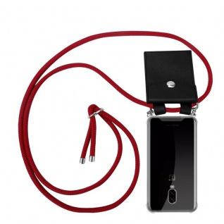 Cadorabo Handy Kette für OnePlus 6T in RUBIN ROT - Silikon Necklace Umhänge Hülle mit Silber Ringen, Kordel Band Schnur und abnehmbarem Etui - Schutzhülle