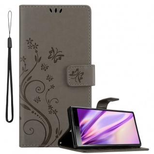 Cadorabo Hülle für Sony Xperia 10 / Xperia XA3 in FLORAL GRAU Handyhülle im Blumen Design mit Magnetverschluss, Standfunktion und 3 Kartenfächern Case Cover Schutzhülle Etui Tasche