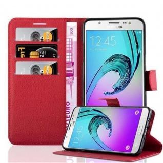 Cadorabo Hülle für Samsung Galaxy J7 2016 in KARMIN ROT - Handyhülle mit Magnetverschluss, Standfunktion und Kartenfach - Case Cover Schutzhülle Etui Tasche Book Klapp Style