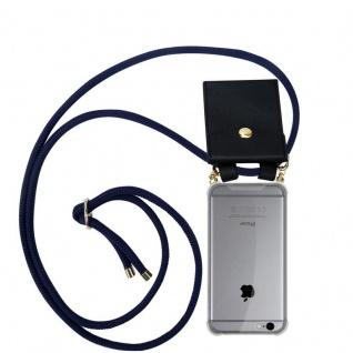 Cadorabo Handy Kette für Apple iPhone 6 / iPhone 6S in TIEF BLAU - Silikon Necklace Umhänge Hülle mit Gold Ringen, Kordel Band Schnur und abnehmbarem Etui ? Schutzhülle