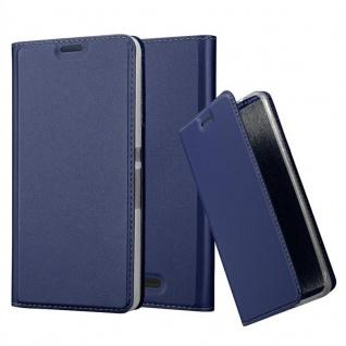 Cadorabo Hülle für Sony Xperia E3 in CLASSY DUNKEL BLAU - Handyhülle mit Magnetverschluss, Standfunktion und Kartenfach - Case Cover Schutzhülle Etui Tasche Book Klapp Style