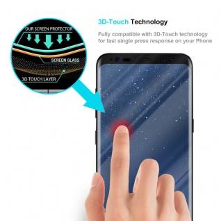 Cadorabo Panzer Folie voll klebend für Samsung Galaxy S8 - Schutzfolie in TRANSPARENT mit SCHWARZ - Gehärtetes Full Glue (Tempered) Display-Schutzglas in 9H Härte mit 3D Touch Kompatibilität - Vorschau 3