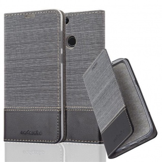 Cadorabo Hülle für Honor 7X in GRAU SCHWARZ - Handyhülle mit Magnetverschluss, Standfunktion und Kartenfach - Case Cover Schutzhülle Etui Tasche Book Klapp Style