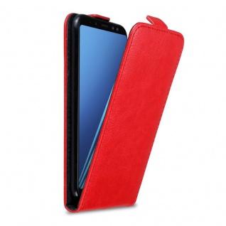 Cadorabo Hülle für Samsung Galaxy A8 2018 in APFEL ROT Handyhülle im Flip Design mit Magnetverschluss Case Cover Schutzhülle Etui Tasche Book Klapp Style