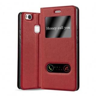 Cadorabo Hülle für Huawei P9 LITE in SAFRAN ROT - Handyhülle mit Magnetverschluss, Standfunktion und 2 Sichtfenstern - Case Cover Schutzhülle Etui Tasche Book Klapp Style