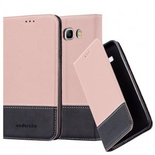 Cadorabo Hülle für Samsung Galaxy J7 2016 in GOLD SCHWARZ ? Handyhülle mit Magnetverschluss, Standfunktion und Kartenfach ? Case Cover Schutzhülle Etui Tasche Book Klapp Style