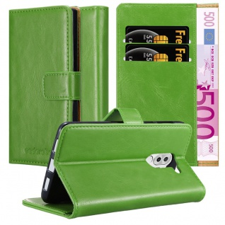 Cadorabo Hülle für Honor 6X in GRAS GRÜN - Handyhülle mit Magnetverschluss, Standfunktion und Kartenfach - Case Cover Schutzhülle Etui Tasche Book Klapp Style