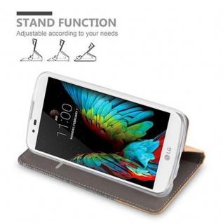Cadorabo Hülle für LG K10 2016 in HELL GRAU BRAUN - Handyhülle mit Magnetverschluss, Standfunktion und Kartenfach - Case Cover Schutzhülle Etui Tasche Book Klapp Style - Vorschau 5