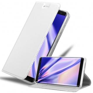 Cadorabo Hülle für Nokia 8 Sirocco in CLASSY SILBER - Handyhülle mit Magnetverschluss, Standfunktion und Kartenfach - Case Cover Schutzhülle Etui Tasche Book Klapp Style