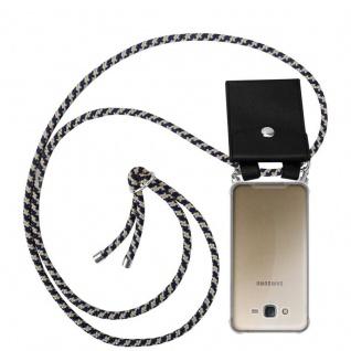 Cadorabo Handy Kette für Samsung Galaxy J7 2015 in DUNKELBLAU GELB - Silikon Necklace Umhänge Hülle mit Silber Ringen, Kordel Band Schnur und abnehmbarem Etui - Schutzhülle