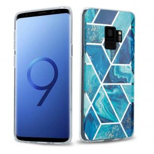 Cadorabo Hülle für Samsung Galaxy S9 PLUS Hülle in Blaue Welle Marmor No.13 Handyhülle aus TPU Silikon mit Muster Mosaik Silikonhülle Schutzhülle Ultra Slim Back Cover Case Bumper