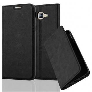 Cadorabo Hülle für Samsung Galaxy A8 2016 in NACHT SCHWARZ - Handyhülle mit Magnetverschluss, Standfunktion und Kartenfach - Case Cover Schutzhülle Etui Tasche Book Klapp Style