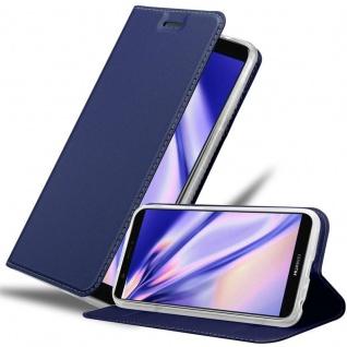 Cadorabo Hülle für Huawei P SMART 2018 / Enjoy 7S in CLASSY DUNKEL BLAU Handyhülle mit Magnetverschluss, Standfunktion und Kartenfach Case Cover Schutzhülle Etui Tasche Book Klapp Style