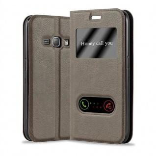 Cadorabo Hülle für Samsung Galaxy J1 2015 in STEIN BRAUN - Handyhülle mit Magnetverschluss, Standfunktion und 2 Sichtfenstern - Case Cover Schutzhülle Etui Tasche Book Klapp Style