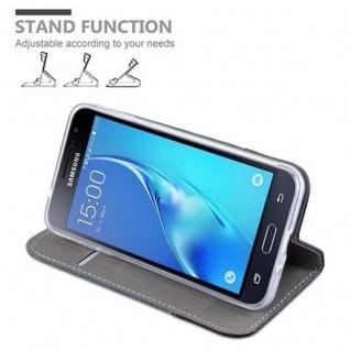 Cadorabo Hülle für Samsung Galaxy J3 2016 in DUNKEL BLAU SCHWARZ - Handyhülle mit Magnetverschluss, Standfunktion und Kartenfach - Case Cover Schutzhülle Etui Tasche Book Klapp Style - Vorschau 4